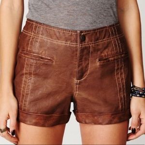 FREE PEOPLE RARE VEGAN LEATHER HIGH WAIST SHORTS